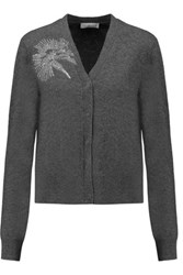 Tory Burch Embellished Merino Wool Cardigan Gray