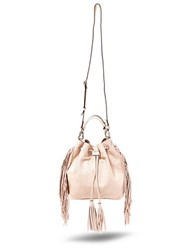 Brian Atwood Ella Blush Leather Drawstring Bag