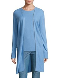 St. John Sport Collection Cashmere Open Front Cardigan Sky Blue Melange
