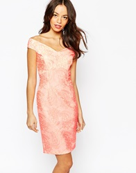 New Look Off The Shoulder Lace Bardot Dress Coral