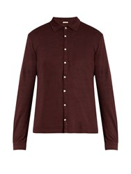 Massimo Alba Crocket Point Collar Linen Shirt Burgundy