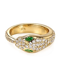 Melinda Maria Serpent Pave Ring Gold Clear Green