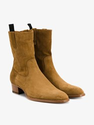 Saint Laurent Suede Ankle Boots Tan Almond Black Tomato White