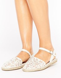 Vero Moda Lace Detail Espadrille Sandals Cream