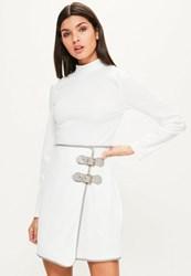 Missguided White High Neck Buckle Skirt Bodycon Dress