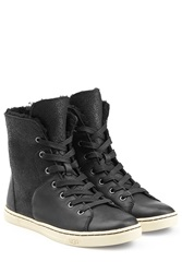 Ugg Australia Craft Leather Sneakers With Sheepskin Black
