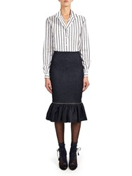 Alexis Mabille Flounced Pencil Skirt In Stretch Denim Blue