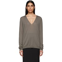 Rick Owens Grey Soft V Neck Sweater
