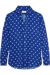 Saint Laurent Polka Dot Crepe De Chine Shirt Cobalt Blue