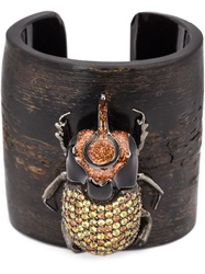 Mcl By Matthew Campbell Laurenza Beetle Applique Cuff Brown