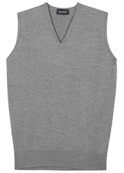John Smedley Hadfield Grey Fine Knit Wool Top Silver
