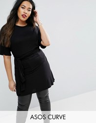 Asos Curve Oversized Tunic T Shirt With Tie Waist Black