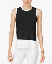 Tommy Hilfiger Sleeveless Layered Look Sweater Only At Macy's Black Ivory