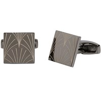Simon Carter For John Lewis Archive Etched Fan Cufflinks Gunmetal