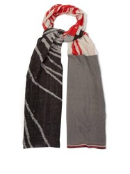 Title Of Work Abstract Print Cotton Blend Scarf Grey