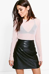 Boohoo Mesh Long Sleeve Crop Top Nude