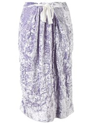 Victoria Beckham Folded Straight Skirt Women Silk Viscose 10 Pink Purple