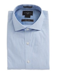 Black Brown Fitted Striped Dress Shirt Blue