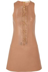 Michael Kors Chain Embellished Leather Dress Brown