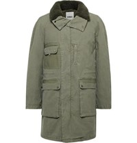 Yves Salomon Shearling Trimmed Gabardine Parka With Detachable Liner Army Green