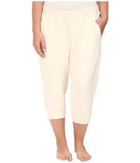 Yummie Tummie Plus Size Baby French Terry Capris Cream Women's Capri Beige