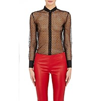 Saint Laurent Women's Polka Dot Tulle Sheer Tuxedo Blouse Black Blue Black Blue
