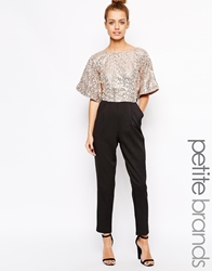 Little Mistress Petite Jumpsuit With Sequin Top Overlay Blackgold