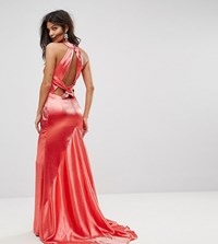 Jarlo High Neck Fishtail Maxi Dress With Strappy Open Back Detail Red