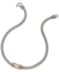 Macy's Diamond Mesh Necklace 1 5 Ct. T.W. In Sterling Silver And 14K Gold Plated Sterling Silver