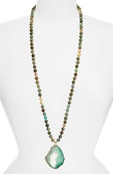 Lovesaffect Women's Love's Affect Drusy Pendant Necklace Turquoise