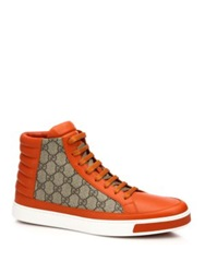 Gucci Gg Supreme Canvas And Leather High Top Sneakers Black Beige Orange Beige