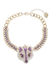 Betsey Johnson Rhinestone Accented Fox Princess Necklace Purple