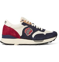 Visvim Roland Embroidered Suede And Mesh Sneakers Blue