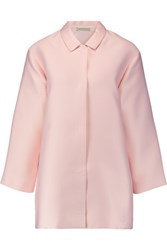 Emilia Wickstead Madge Belted Duchesse Satin Coat Pastel Pink