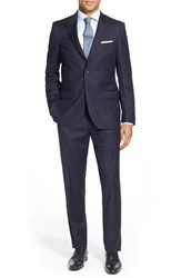 Men's Big And Tall Strong Suit 'Cutlass' Trim Fit Solid Wool Suit Navy Stripe