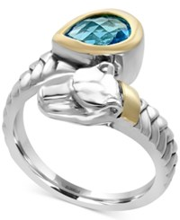 Effy Blue Topaz 1 1 10 Ct. T.W. Panther Bypass Ring In Sterling Silver And 18K Gold