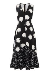 Warehouse Daisy Floral Midi Dress Black
