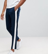 Selected Homme Tall Tapered Trouser With Stripe Navy