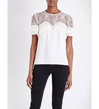 The Kooples Tiered Lace And Crepe Top Ecru