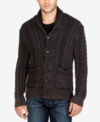 Lucky Brand Men's Cable Knit Shawl Collar Cardigan Jet Black