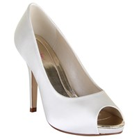 Rainbow Club Jennifer Satin Platform Peep Toe Court Shoes Ivory