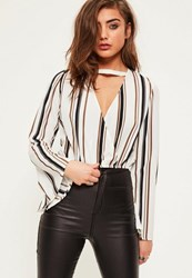 Missguided White Stripe Flare Sleeve Wrap Front Crop Blouse