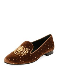 Versace Icon Medusa Velvet Smoking Slipper Loafer Flat Gold