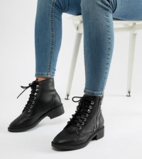 New Look Wide Fit Lace Up Flat Ankle Boot Black