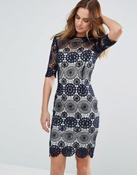 Paper Dolls Navy Crochet Lace Dress With Contrast Lining Black