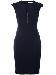 Versace Collection V Neck Fitted Dress Blue
