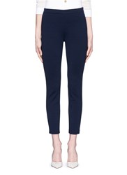 St. John 'Alexa' Split Cuff Cropped Milano Knit Pants Blue