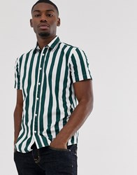 Selected Homme Deck Chair Stripe Short Sleeve Shirt In Green