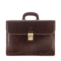 Maxwell Scott Bags Luxury Italian Leather Men's Business Briefcase 3 Sections Paolo3 Dark Chocolate Brown