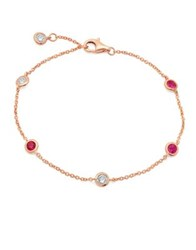 Crislu Precious Strands Crystal And Sterling Silver Bezel Bracelet Rose Gold